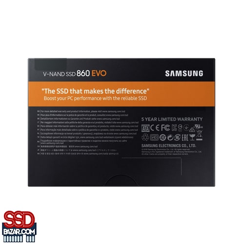 06 MZ 76E1T0BW 007 Back PKG Black copy 100318 min - Samsung SSD EVO 860 1TB اس اس دی سامسونگ ۱ ترابایت