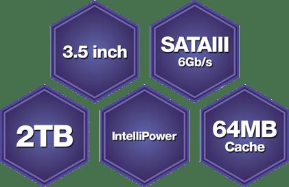 Western Digital HDD purple 64MB cache 2TB